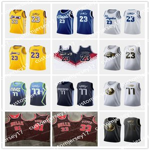 cidade NCAA 33 Pippen 23 James 91 Rodman High School de 77 Doncic College Basketball Jersey LeBron Luka