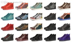 RedBottom Designer Studded Spikes Flats casual shoes Shoes For Men and Women Party Lovers Genuine Leather Sneakers Black White Blue