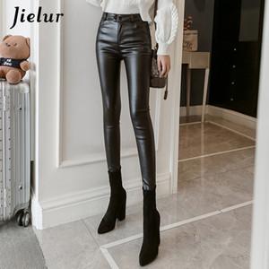 New PU Faux Leather Leggings Women 2020 Skinny Silver Red Black Pants Female Lady S-3XL Thin Fleece Pencil Leggins Mujer
