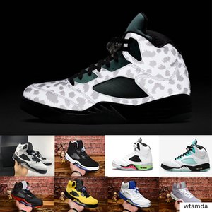 Island Green 5 5s Pro Stars ICE BLUE Oreo wings Men Basketball Shoes 5s Red Olympic Metallic Gold Silver Sneakers With Box
