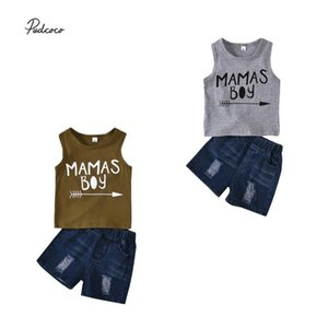 2020 Baby Summer Clothing Infant Kids Baby Boys 2Pcs Set Clothes Letter Print Vest Ripped Denim Shorts Casual Sunsuit
