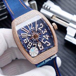 K alta calidad NUEVO SARATOGE V45 SC DT YACHTING 5N Rose caja del diamante de Oro Fecha Dial correa Miyota automático para hombre del reloj del cuero relojes deportivos