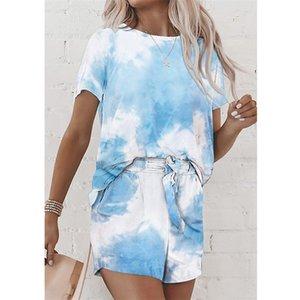 Frauen Tie-Dye Druckanzug Bikini Short Sleeve + Shorts Zweiteilige Kleidung Anzug Schlafrock Sommer-Damen Pyjama-Sets LY710