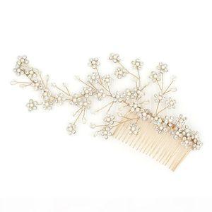 Beijia Generoso ouro cristal flor nupcial do cabelo Vine Handmade Casamento Comb Acessórios Mulheres Jóias