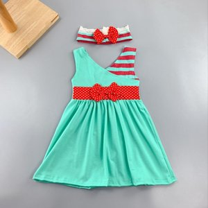 Ancient China neck style Summer and Autumn striped pattern and abutment cloth Baby Girls green Dress Apparel Accessory