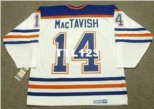 Men # 14 Craig MacTavish Edmonton Oilers 1987 CCM Vintage Início Hockey Jersey ou personalizado qualquer nome ou número retro Jersey