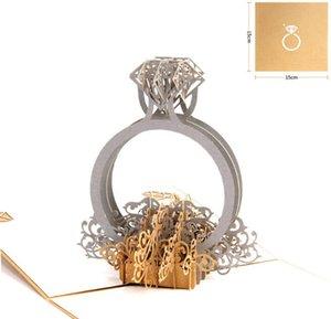 3D-Pop-Up-Diamant-Einladungs-Karte Ring-Laser-Schnitt Valentinstag Grußkarten mit Umschlag Postkarten