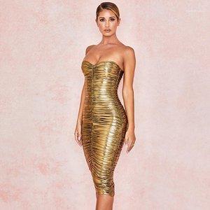 Womens Vestidos Verão Strapless plissadas Mulheres Designer Vestido Casual Moda Noble Ladies Clothing Corte Neck Ouro