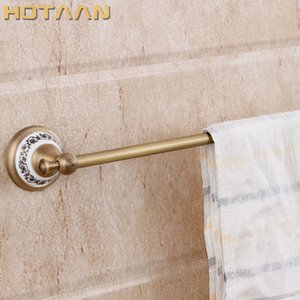 HOT SELLING, Antique Brass Bathroom towel holder,Single towel bar with ceramic, 60cm solid brass towel rack with YT-11596