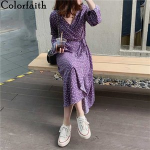 Colorfaith New 2020 Women Summer One Piece Dress Casual V-Neck High Waist Floral Vintage Pleated Hole Lace Up Long Dress DR377