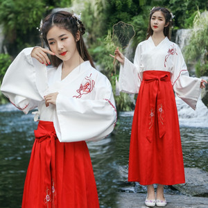 6nROk Han Kleidung der Frauen Erwachsener Quer Kragen Brust gesäumten Kleid Kostüm Kostüme alte costumedaily Verbesserung Han Elementklasse Kleidung C