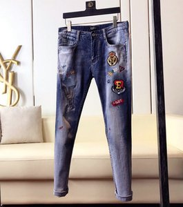 New luxury fashion mens designer jeans luxury fashion brand ripped hole bleached tie dye vintage Denim Hip Hop rock Motorcycle mens jeans
