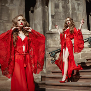 Red nuziale Sleepwear donne Robe Gown Imposta Lace Accappatoio Night Dress sexy Illusion progettista delle donne Pigiama Femme Lingerie One Piece