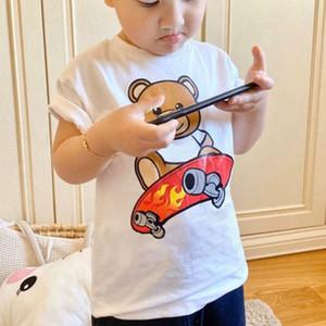 Camisas dos miúdos T Designer Rapazes Meninas Imprimir T-shirts com o urso Crianças Crew Neck verão respirável Tees Tops Designer crianças camisetas
