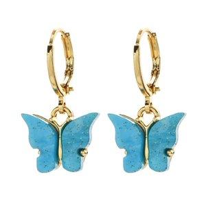 Pendientes de la mariposa pendientes de acrílico del color del caramelo del encanto del perno prisionero de la mariposa dulce Animal colorido para la joyería de las muchachas