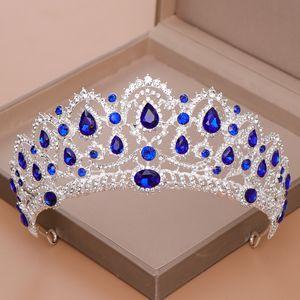 AiliBride Couronne Reine tiare Mariage Accessoires de cheveux bleu cristal strass diadèmes et couronnes pour mariée mariage bijoux cheveux Y200727