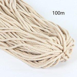 5mmx100m Twisted Woven Strong DIY Главная макраме плетеный Струнный аксессуары Текстиль подарков Хлопок Веревка Craft Бежевый