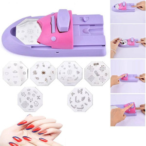 Nail Painting Arts Device Kits All-In-One Nails Art Fashion DIY Pattern Machine Accessories with 6 Plates