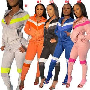 2020 Лоскутная Pleuche сгущает Tracksuit Женщины Дизайнерская одежда Zipper Куртки Топы + брюки Леггинсы Два кусочка Нижнее Спортивный костюм D72812