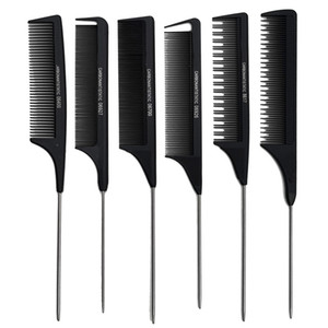 Pettine di plastica dei capelli professionale Anti statico coda di ratto Combs saloni Capelli che designano gli attrezzi Nero Forma libera 1YT E2 Spedizione