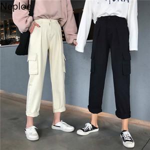 Neploe Jeans Kadınlar Kargo Pantolon Kore Yüksek Waisted Ayak bileği Pantolon 2020 Yeni Nedensel BF Stil Demin Düz Pantolon Femme 4D229