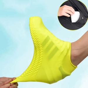 Водонепроницаемая крышка башмака силиконовый материал Unisex Обувь протекторы Rain Boots для Крытый Открытый дождливые дни Многоразовые DHA407