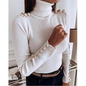 Женщины свитер Fahion черепаха шеи Кнопка аппликацией Свитера Повседневный естественный цвет с длинным рукавом Свитера Женщины Дизайнерская одежда