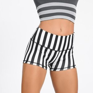 Women Short Striped skinny high waist fitness shorts womens workout shorts spodenki gym korte legging dames T#