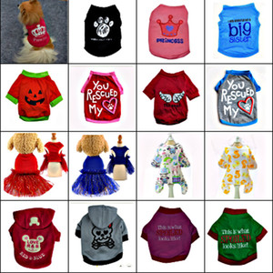 VIP Fast Dispatch DHL Free! Pet Dog Cat Vest Clothes Small Sweater Puppy Soft Coat Jacket Summer Apparel Cartoon Clothing t-shirt pet supply