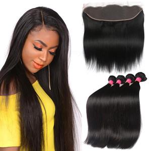 feixes de cabelo cabelo humano reto brasileiros com rendas frontal orelha a orelha Lace frontal Encerramento onda do corpo do cabelo Virgin 13x4 frontal com os pacotes