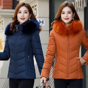Short Winter Jacket Women Parka Coat Fur Hooded Down Autumn Big Large Plus Size Female Warm Thick Clothes Outerwear Quilted Fall