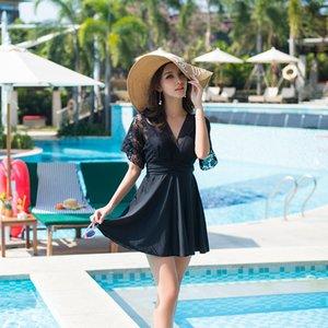 L-5XL Swimming Suit for Women Push Up Black Mesh Swimsuit Short Sleeve Ladies Swim Dress One Piece Skirt Bathing Suit Plus Size T200708