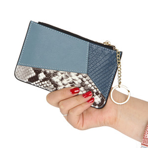 High-End Designer Cowhide Color Matching Snake Pattern Short Coin Purse Multi-Function Key Case Geometric Tassel Leather Ladies Small Card B