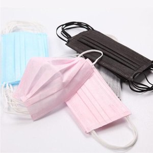 Mascarillas desechables para adultos niños máscaras de color rosa máscara de capa 3 balck boca del polvo de Máscaras de la cubierta de 3 capas para no tejidos elásticos del oído del envío libre