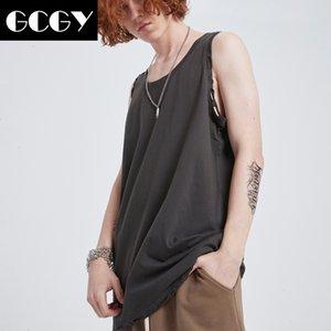 GCGY Men Cotton Tank Tops Hip hop Loose casual vest Mens Undershirt Transparent Shirts Male Street dance fashion vest