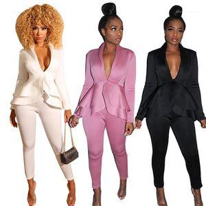 Pants Pedaço Mulheres Moda profundo decote em V Conjuntos OL das mulheres sólidos Suits Ruffle Sexy Mulher Primavera Designer Dois