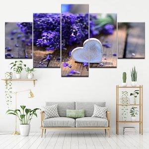 5 Painel Modular Modern Lavender Flowers Canvas pintura em tela Wall Art Modular Pictures Home Decor para Sala No Frame