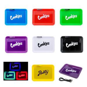 Bandeja Brilho LED recarregável rolamento Base de cookies Runtz Skittles estrangeiro Labs Destaque Titular seco Herb Tobacco bandeja de armazenamento com Carry Bag
