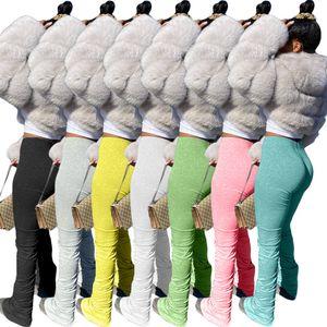 Kadın Pantolon Bayanlar Flare Yığılmış Joggers Pileli Sweatpants Yüksek Bel Pantolon Bölünmüş Çan Alt Kalem Pantolon Kadın Giysileri