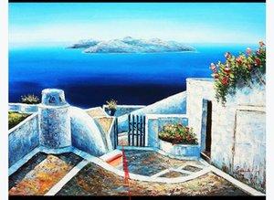 Mediterranean beautiful retro seaside scenery Oil Painting Mural Wallpaper Living room Bedoom TV background Wall Paper Home Decor