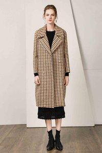 Laine Plaid Femme Automne Vintage long manteau avec un style de Pearl Angleterre Femme Pardessus Hiver chaud Veste d'extérieur