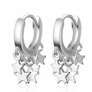 Korea Trendy Stainless Steel Earrings For Women Small Hoops Stars Pendants Fashion Party Jewelry Drop Earring EH361