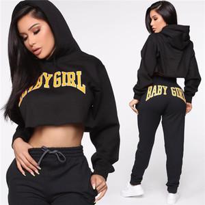 Pantalones para mujer otoño 2pcs de diseño casual con capucha para mujer Deportes Conjunto de 2 piezas manera del equipo impresa letra de prendas de vestir