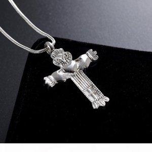 dom LkJ001 Natal! Aço inoxidável Cruz Cremation Ashes Colar da lembrança do Memorial Urn Pingente Jóia para mulheres e homens