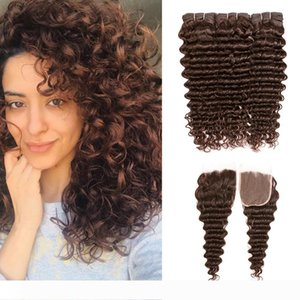 8A Deep Curly Wave Bundles with Closure #4 Medium Brown Brazilian Virgin Hair 3 Bundles With 4x4 Lace Closure Remy Human Hair Extensions