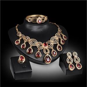 Luxury Bridal Jewelry Sets Necklace Earring Bracelet Ring 4 Pcs Gold Accessories Women Party Formal Wear