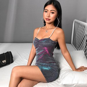 Summer Bodycon Glitter Dress Women Ruched Sexy Spaghetti Strap Dress Ladies Backless Short Mini Party Club 2020