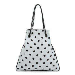 Challen punto dell'onda chiffon borse a spalla casuale delle donne con coulisse Bucket Bag estate femminile borse da spiaggia di viaggio Black White Handbag