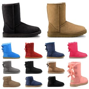 2020 boots mulheres designer de pele ankle boots triplo preto cinza marinho rosa castanha moda luxo clássico botas de neve mulher sapatos tamanho 36-41
