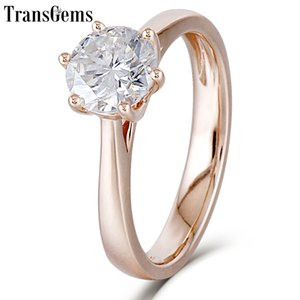 Transgems Center 1ct Rose Gold Engagement Ring Women 10K Rose Gold 1 ct 6.5MM F Color Moissanite Diamond Ring for Wediing Y200620